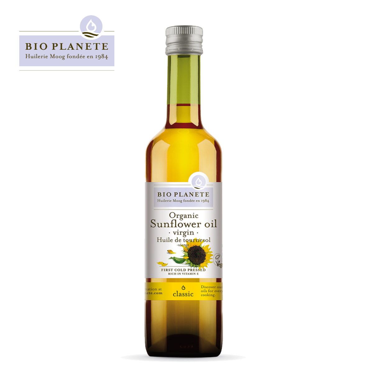 BIO PLANETE Virgin Sunflower Oil (500ml) - Rich in Vitamin E