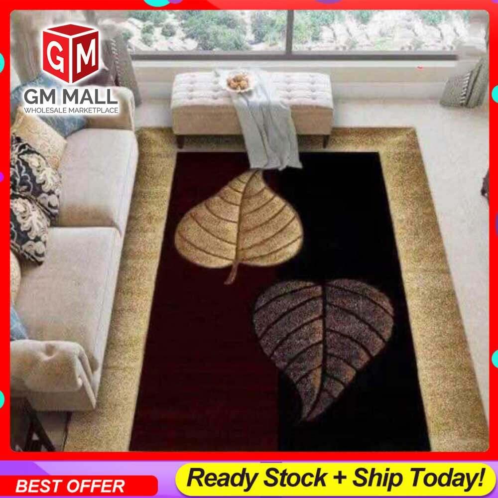 NEW DESIGN CARPET SIZE BESAR L/XL European Style Carpet Printed 3D Brown 2 Big Leaves Mat Floor - Karpet Bercorak 3D Waterproof/Living Room/Bedroom Material Velvet (C-16)