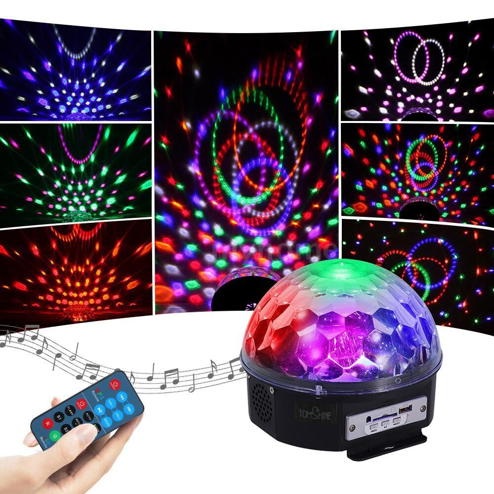 Lighting - MINI Rotating Magic Ball LED Light Multi Color Changes Sound Activated Auto Run Remote - Home & Living