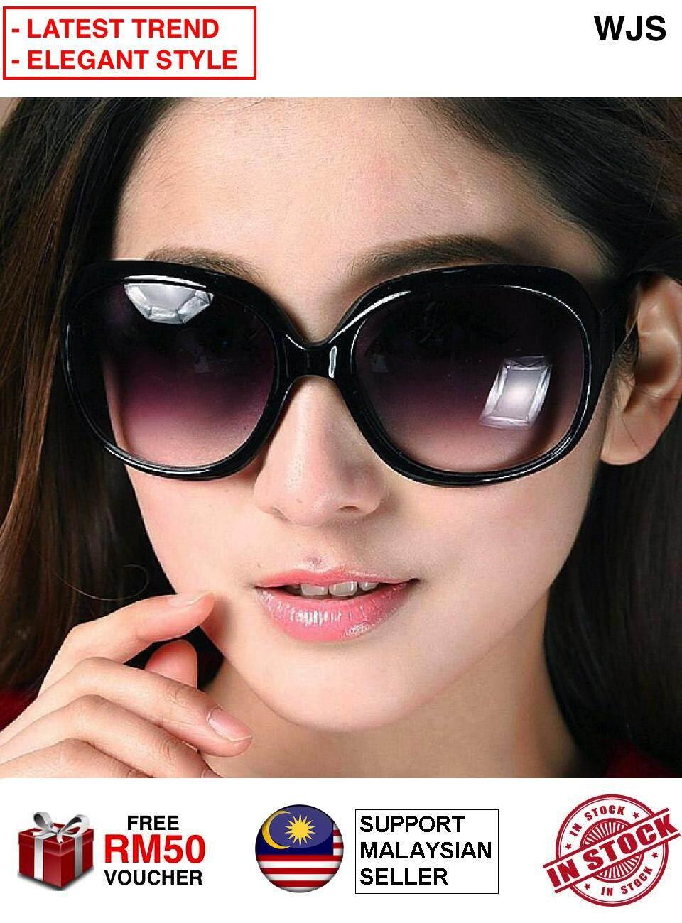 (LATEST FASHION TREND) WJS Women Sunglass Big Lens Girls Handsome Sun Glasses Spectacle Sunglasses Huge Lens Retro Classic Sunglasses BLACK PURPLE [FREE RM 50 VOUCHER]