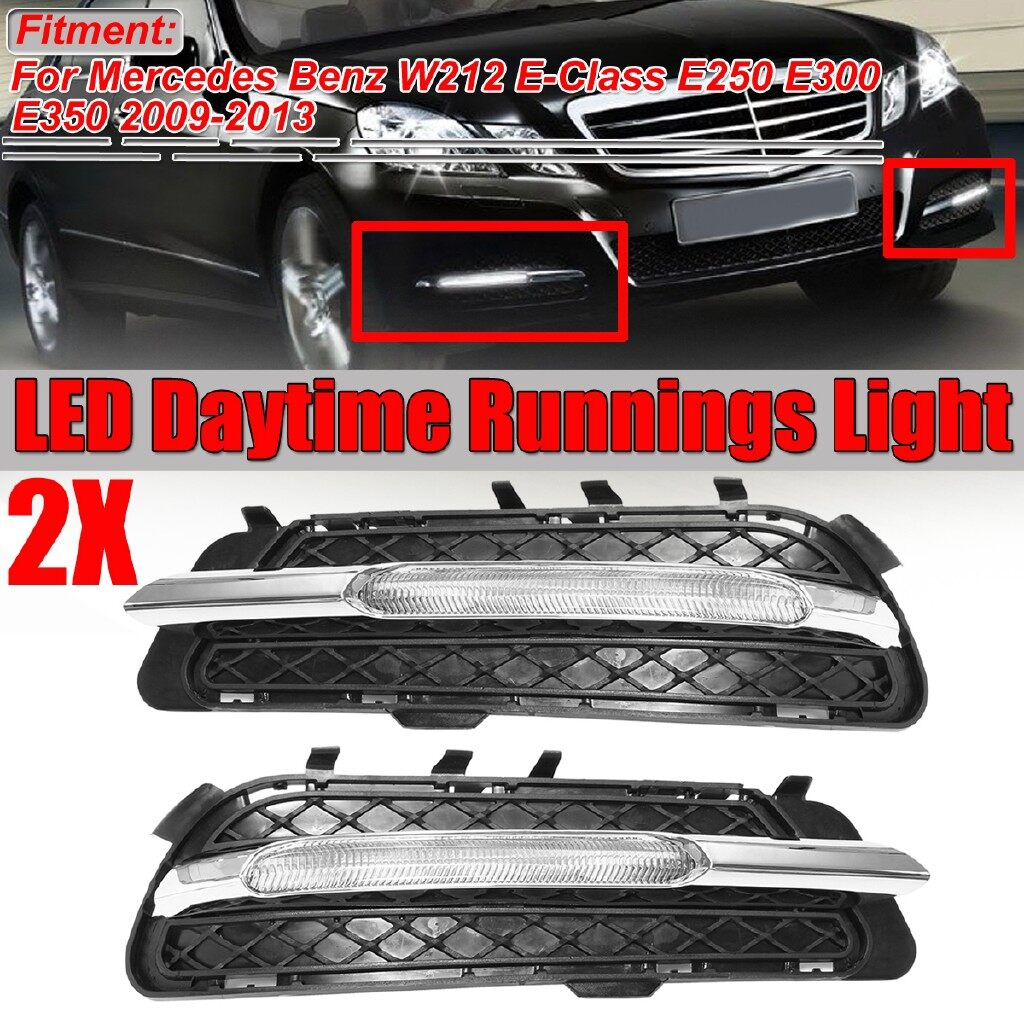 Automotive Tools & Equipment - For Mercedes W212 E Class 2009-2013 Left + Right LED DRL Fog Light Grill Cover - Car Replacement Parts