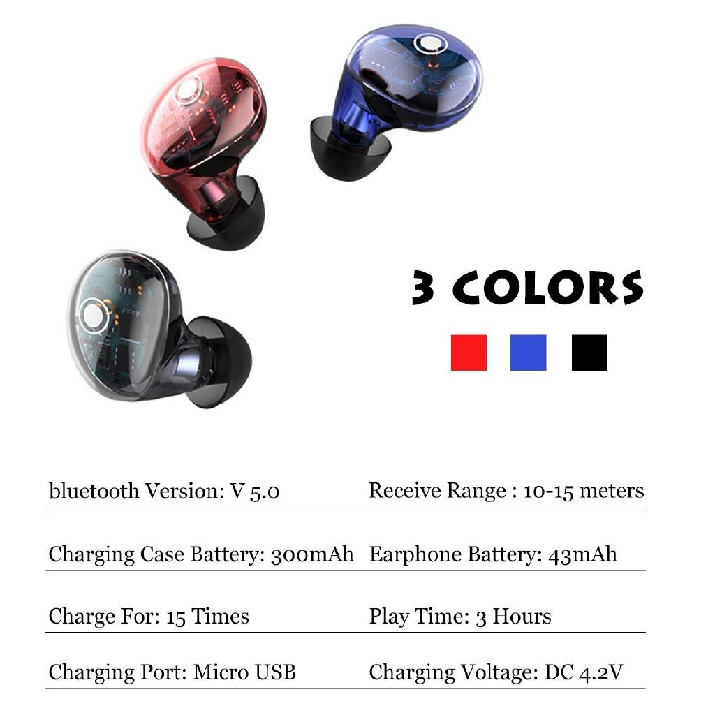 Over-Ear Headphones - LED BLUETOOTH 5.0 Earbuds WIRELESS Earphones Head SET Headphones-3c - RED / BLACK / BLUE