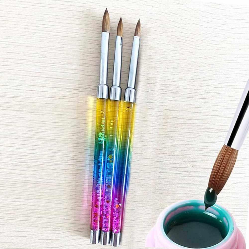 1PC Nail Art Crystal Brush UV Gel Builder Painting Pen Sculpture Tips Manicure Salon Tools (14#) (3)
