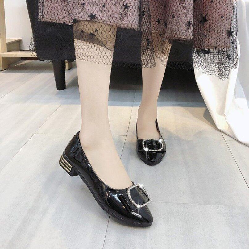 Giày khiêu vũ đơn cho Nữ, Giày Bệt Mũi Tròn bằng da PU mềm cỡ lớn 40 đính pha lê hình hoa cho nữ giá rẻ