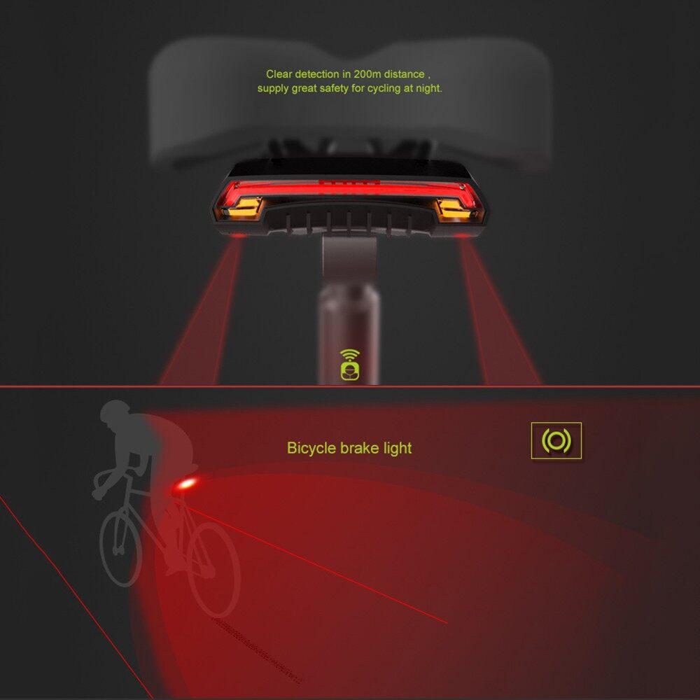 Cycling - Meilan X5 Bicycle Rear Light Bike Remote WIRELESS Light Turn Beam USB Cycling - BLACK