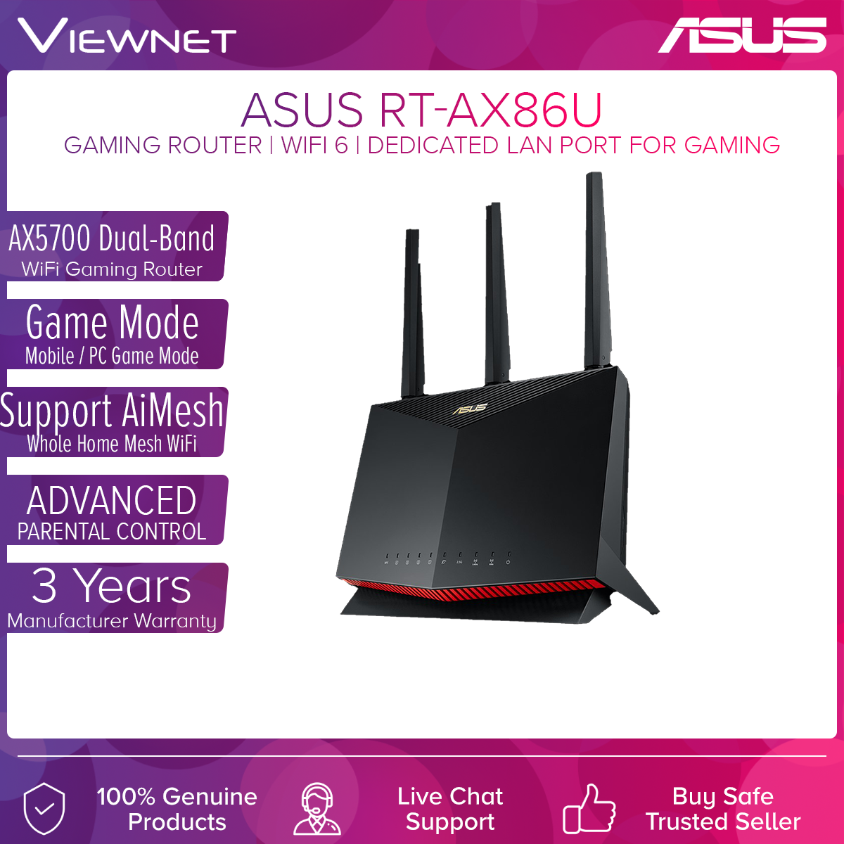 ASUS RT-AX86U AX5700 Dual Band WiFi 6 Gaming Router with AiMesh Support, Parental Control, Lifetime free Internet Security, 2.5G Port