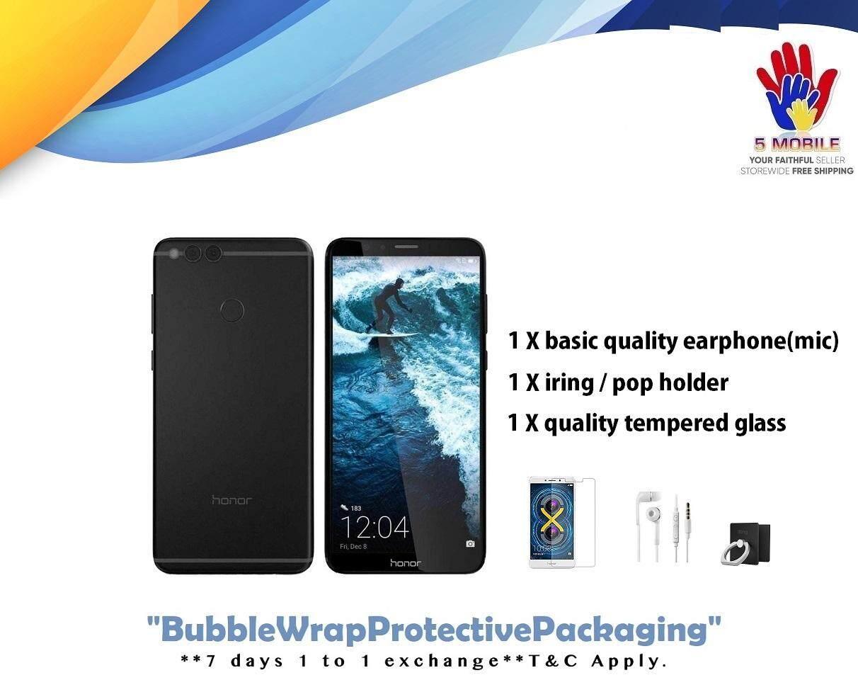Huawei Honor 7X – (64GB ROM + 4GB RAM) Dual 16MP Camera  +Free Gift Worth RM39 -Original Malaysia Set