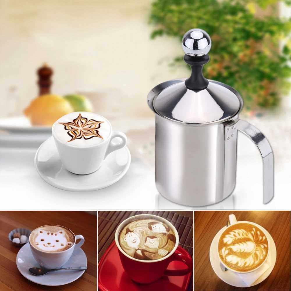 400ml Stainless Steel Milk Frother Double Mesh Milk Foamer DIY Fancy White Coffe Creamer for Cappuccino Latte (black)