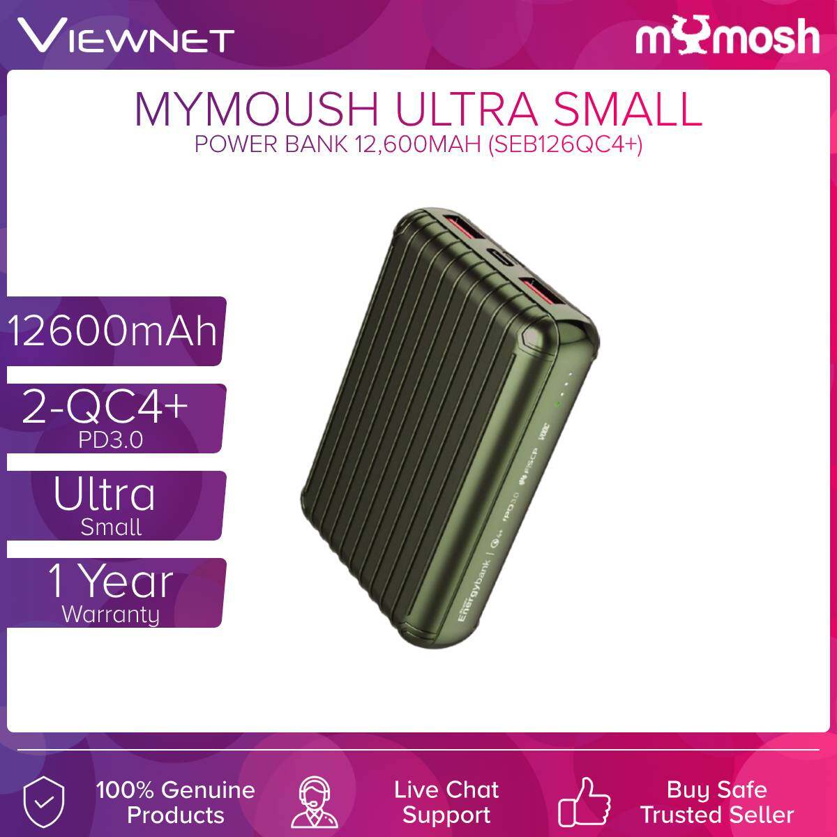 Mymosh (SEB126QC4+) 12600mAh 2-QC4+ PD3.0 Ultra Small Power Bank Gold / Green / Silver/Black