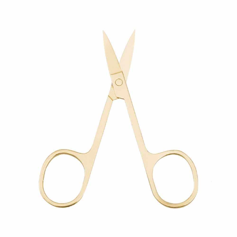 Eyebrow Scissors Stainless Steel Scissors for Makeup Beauty Tools (Gold)