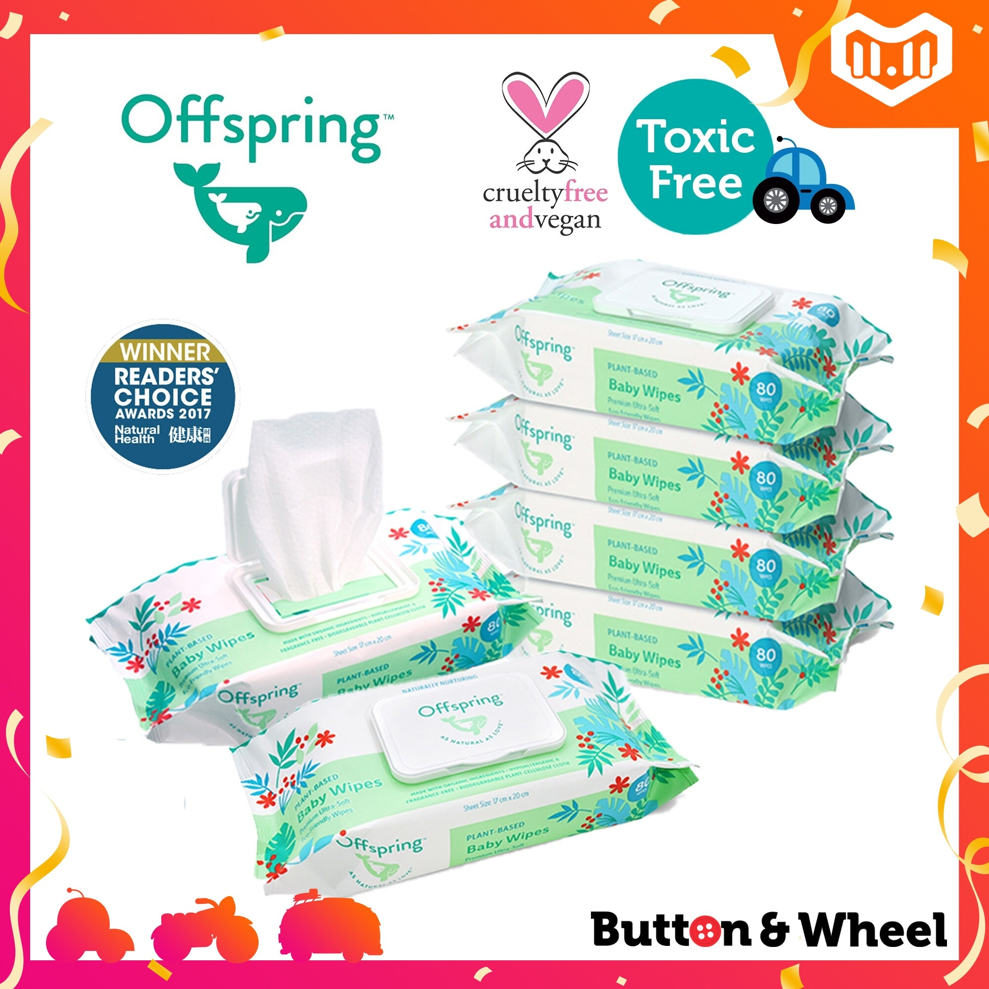 Offspring Baby Wipes 80ct 6-Pack Bundle (Expiry Date: 10/12/2021):OI-BW-80CT-6P