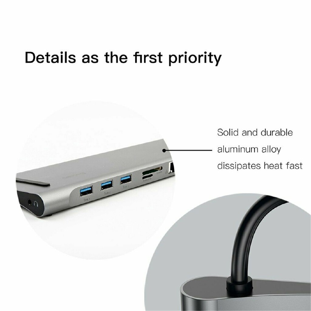 Mobile Cable & Chargers - 10 in 1 Type C to USB-C HDMI USB 3.0 Adapter Dock for Laptop Mobile Phone RJ45