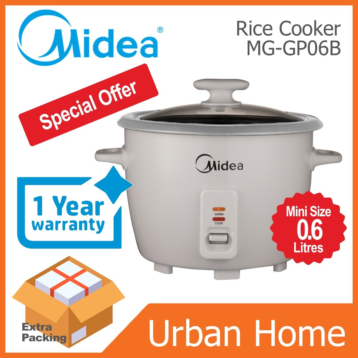 MIDEA 0.6L Mini Conventional Rice Cooker (MG-GP06B/MGGP06B)