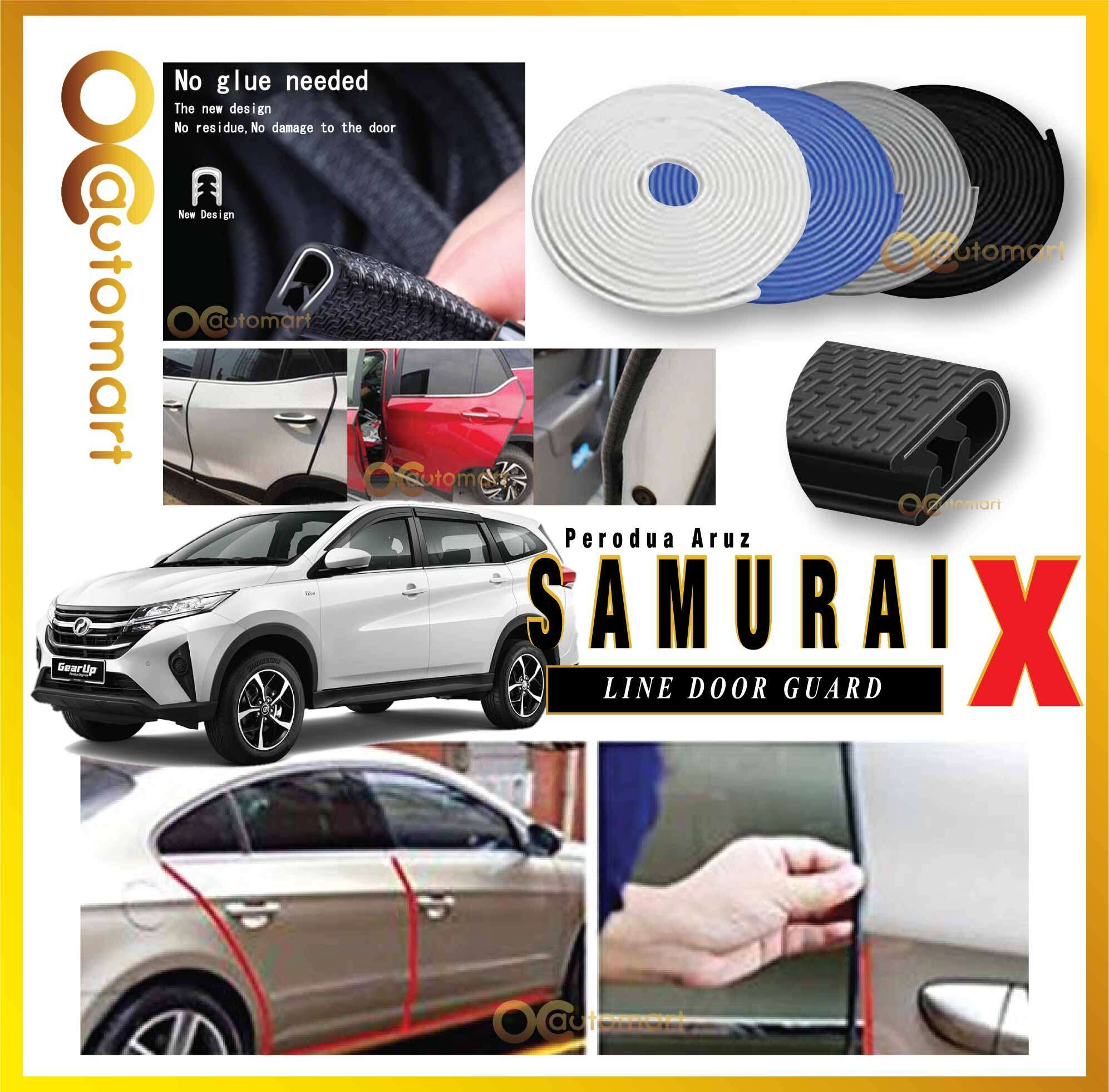 Samurai X Car Door Edge Guards 16Ft (5M) Rubber Car Door Protector Car Perodua Aruz Door Trim (4 Door) (Black,White,Gray,Blue)