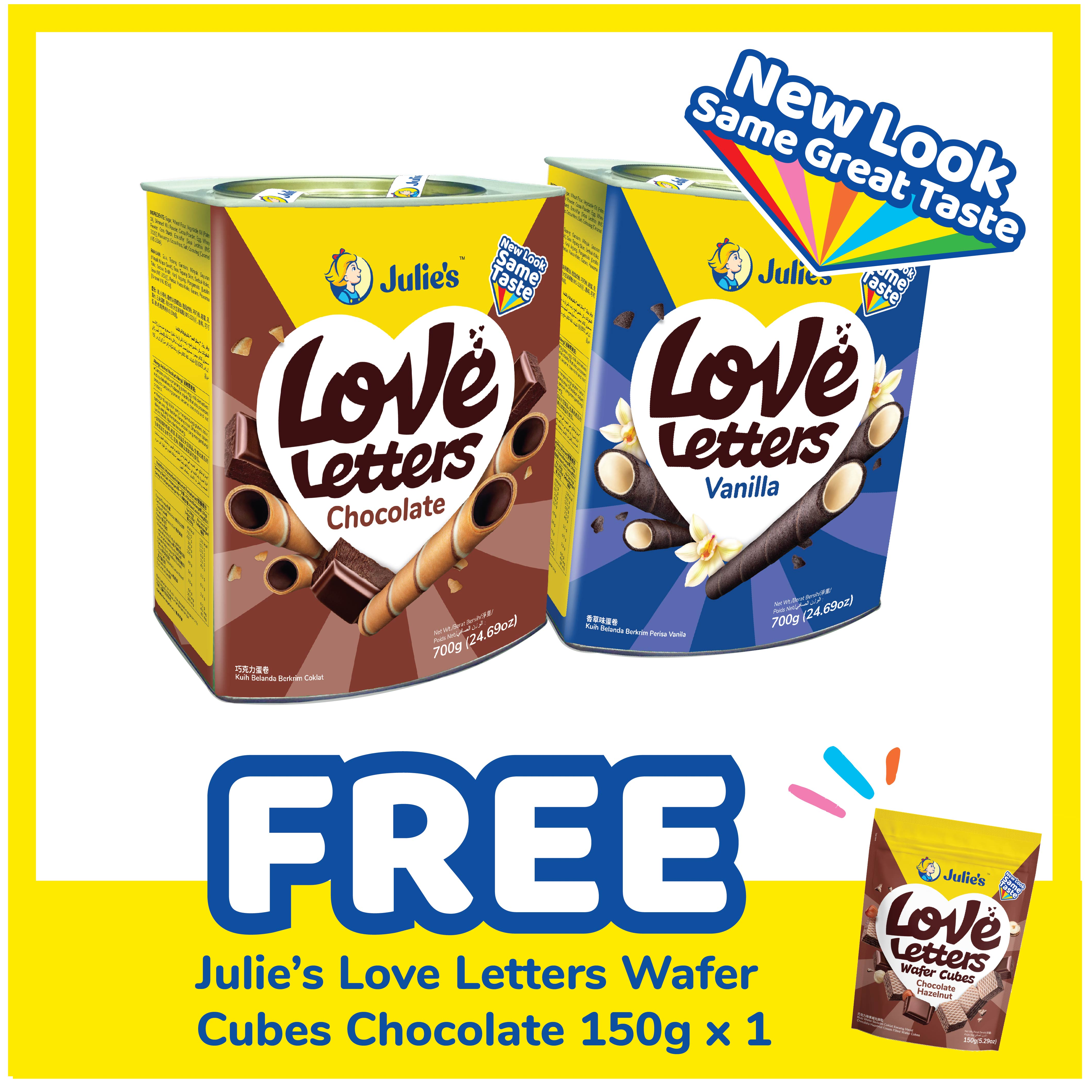 Julie's Love Letters Chocolate & Vanilla 700g x 2 tins [Inner Pack Online Exclusive] + Free Julie's Love Letter Wafer Cube Chocolate 150g x 1 pack [ CNY Promotion Packaging ]