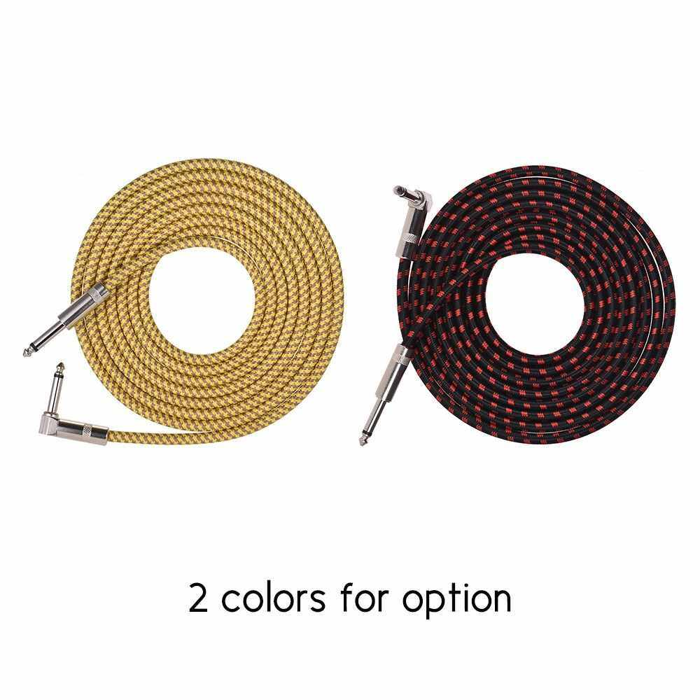 Muslady Electric Guitar Bass Musical Instrument Cable Cord with 6.35mm TS Straight to Right-angle Plugs Woven Jacket, 3 Meters/ 10 Feet (Yellow)
