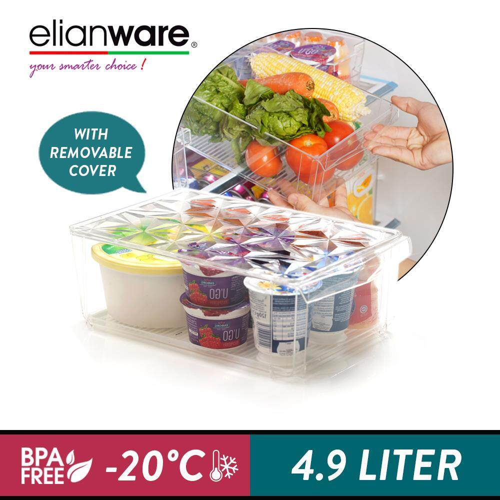 Elianware E-Concept BPA FREE Stackable Food Storage with Cover Freezer Organizer (4.9L)