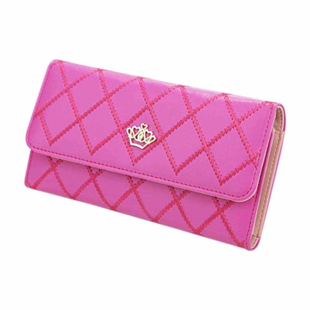 Comfortable Crown Women Long Wallets PU Leather Hand Bag Fashion Ladies Purse (Rose Red)