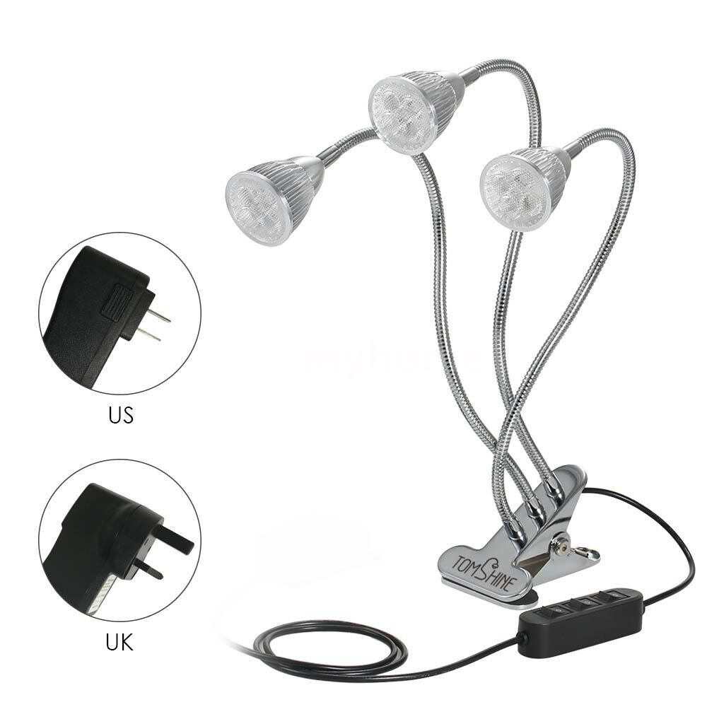 Lighting - Three Head LED Plant Growth Light Grow Lamp with Clamp Clip IP44 Water Resistance Flexible - Home & Living