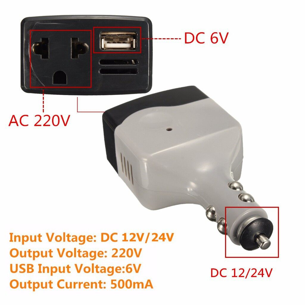 Car Accessories - Car Charger Power Inverter Converter DC 12/24V to AC 220V Adapter w/USB Outlet - Automotive