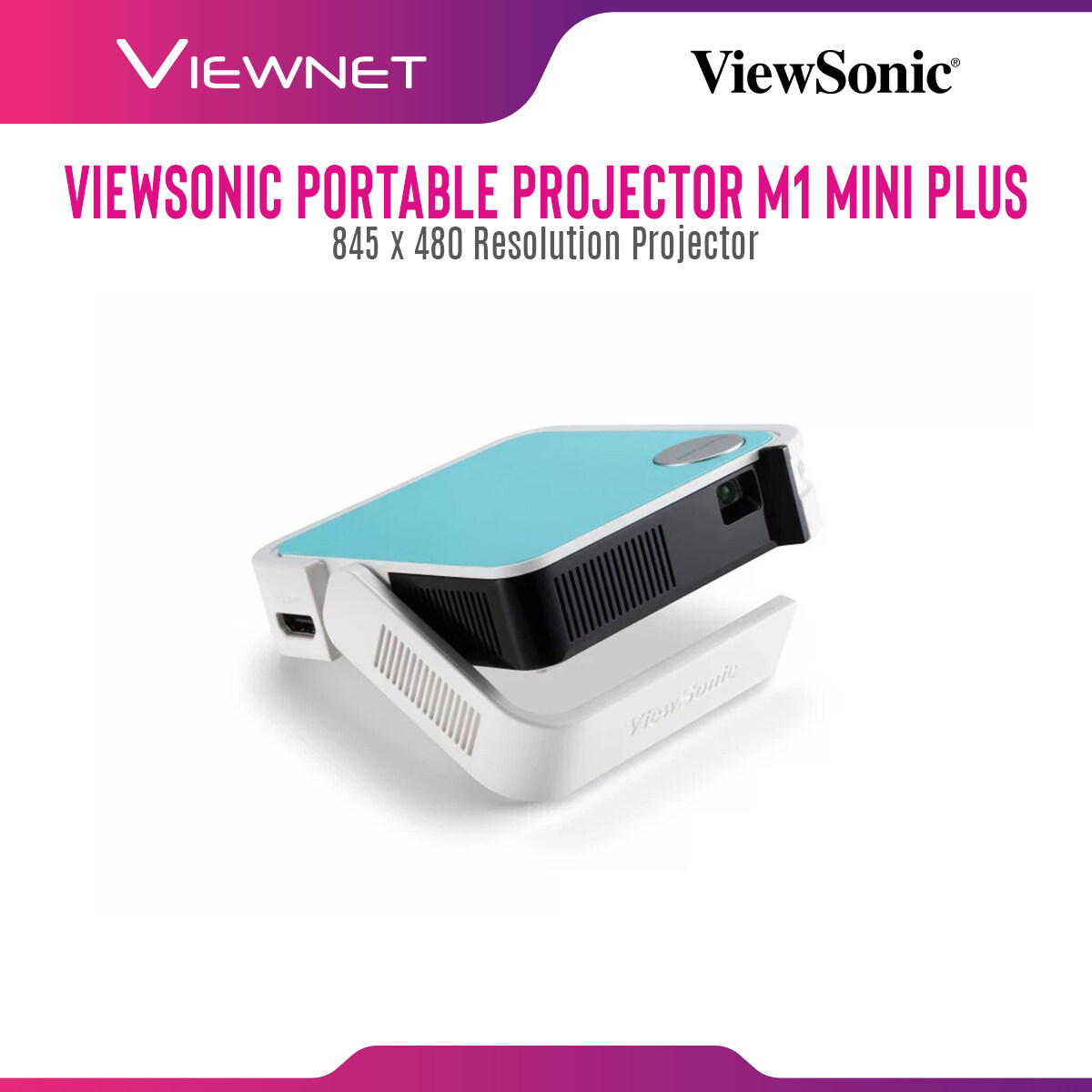 Viewsonic Portable Projector M1 Mini Plus with 854x480 Resolution, 120 Lumens, 30000 Hours Lamp Life in Eco Mode