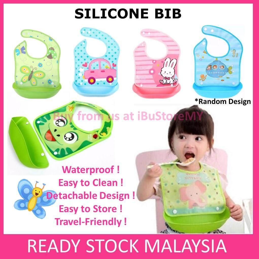 Baby Cartoon Waterproof Silicone Bibs with Tray Baby Bib Detachable Burp Cloth Feeding