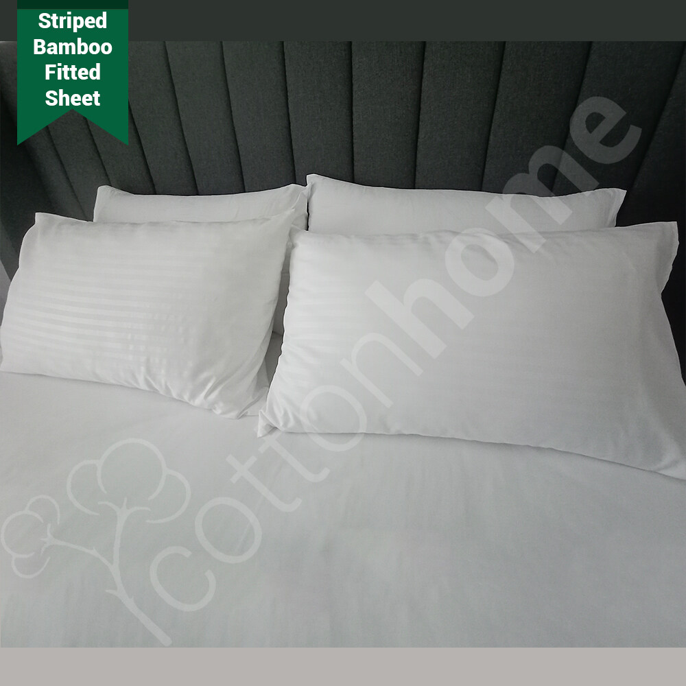 Stripe Hotel Like BedSheet with Pillow Cover Set /Bamboo Polyester Fabric / ALL Sizes READY STOCK