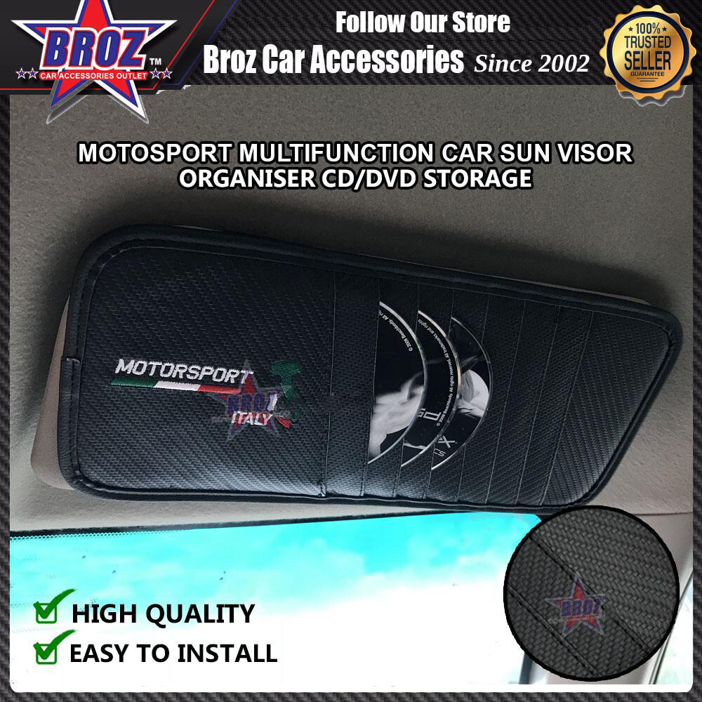 Broz DVD CD Storage Car Sun Visor Motosport Italy Multifunction