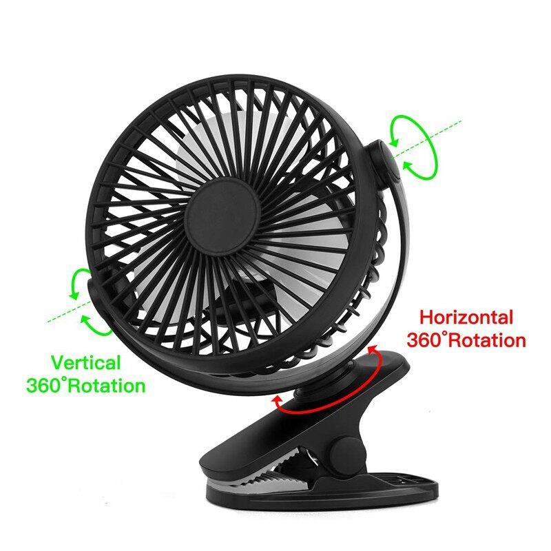 PORTABLE MINI Mute Clip Cool Fan Silent 4 Blades Rechargeable 3 Speeds USB Desk Fan - BLACK / WHITE / PINK / BLUE