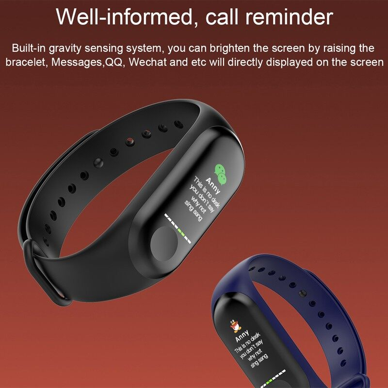 M3 Plus Smart Band Waterproof Fitness Tracker Smart Bracelet Blood Pressure Heart Rate - BLACK / RED / BLUE
