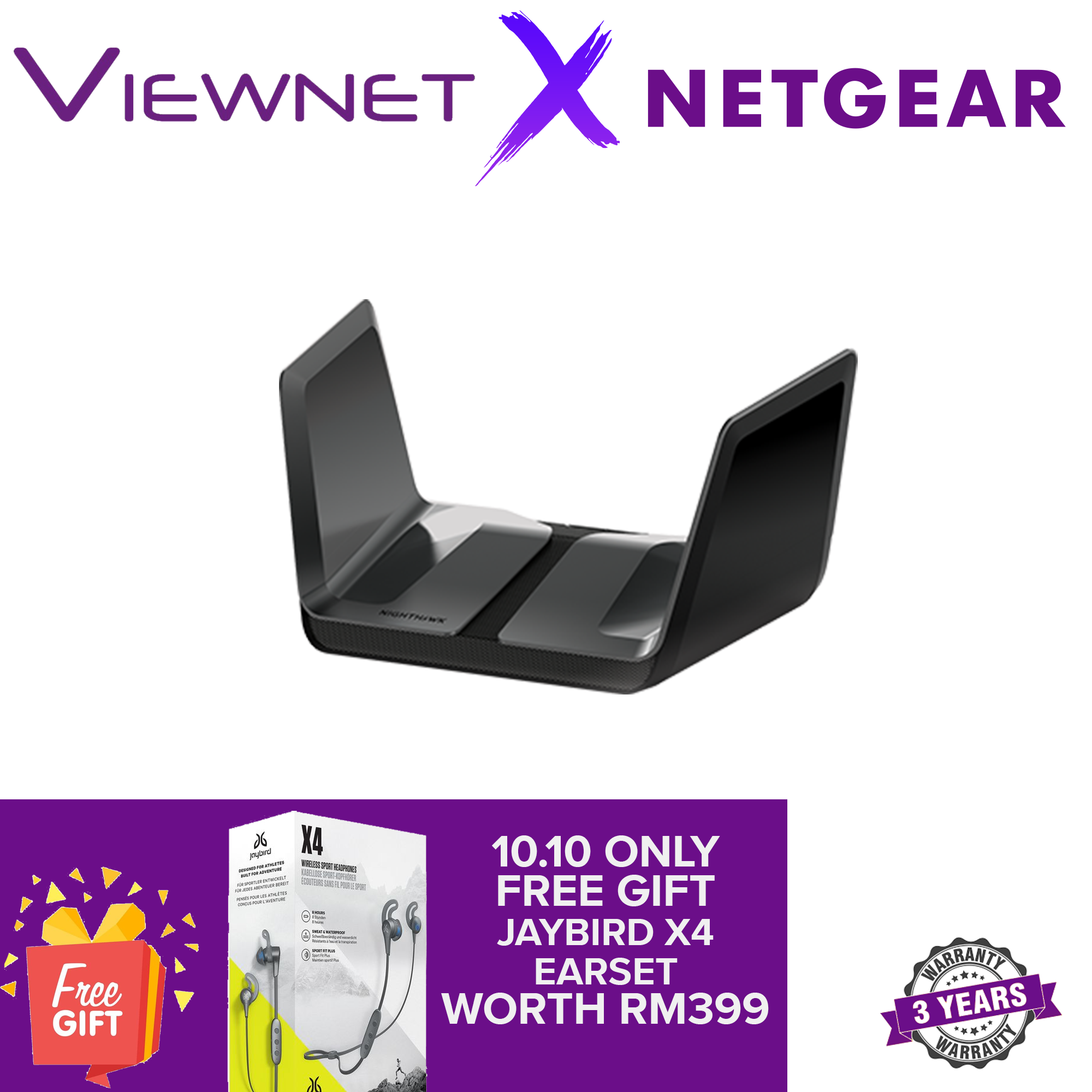 Netgear Nighthawk AX8 8-Stream AX6000 WiFi 6 Router RAX80-100EUS - High Performance Antennas 512MB RAM Quad-Core 1.8Ghz CPU