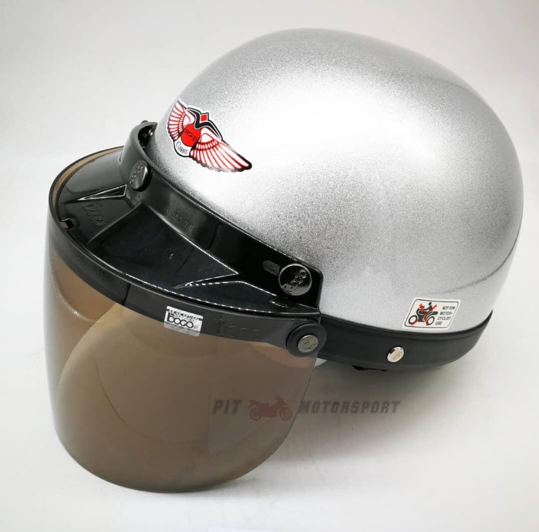Silver MHR III Half Cut Helmet / MHR 3 100% Original Size L Add On Visor Kura EX5 Y110 Y80 Wave 125Z Ysuku RFS150 VF3i C70 RS150 LC135 Y15