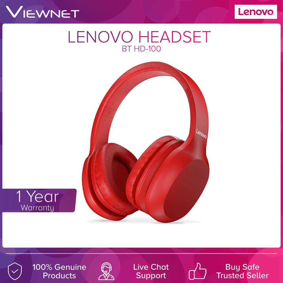 Lenovo (HD-100) Bluetooth Headset Over-Ear Headphones With Mic