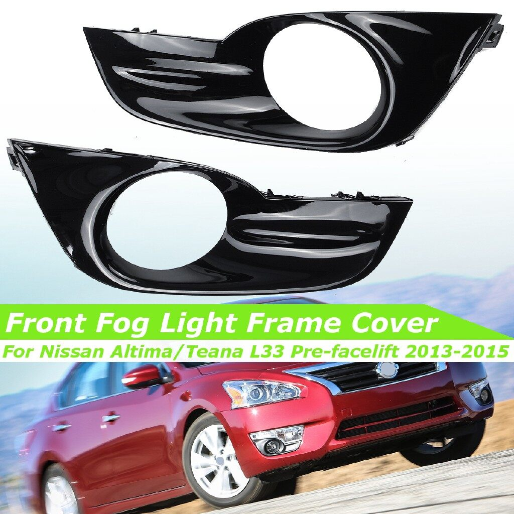 Car Lights - Front Fog Light Cover Grille Gloss Black For Nissan AltiTeana Sedan 2013-2015 - Replacement Parts