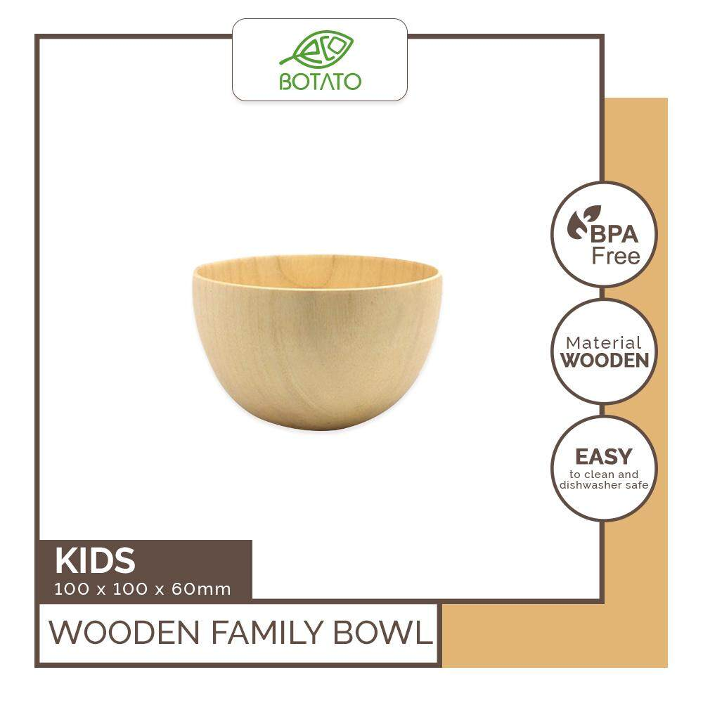 ([Ready Stock] Eco.Botato WOODEN FAMILY BOWL Natural Wood Holder Dish Serving Tray Creative Primitive Vintage Home Decoration Classical Round Shape Japanese Style Kitchen Tableware: Mom, Dad, Kids Eco Friendly)