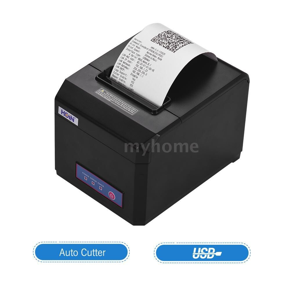 Printers & Projectors - HOIN 80mm USB Thermal Receipt Printer with Auto Cutter High Speed Printer Ticket Bill Printing - Computer & Accessories