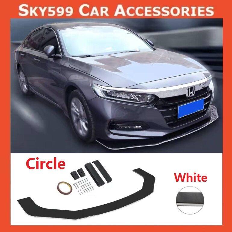 Car Universal Circle Front Bumper Diffuser Lip Wrap Angle [WHITE COLOR]
