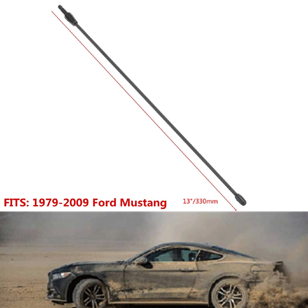 Engine Parts - 13\'\' Black Spring Stainless AM FM Antenna Aerial Mast For 1979-2009 Ford Mustang - Car Replacement