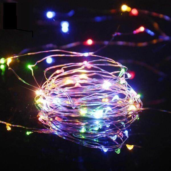1 Meters 10 Led Battery Operated Silver Wire Christmas Decoration Fairy Light (2032 Series,Warm White) (Starzdeals.my)