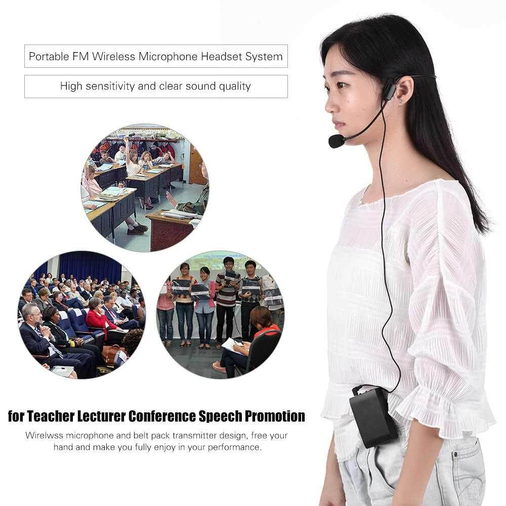 People's Choice Portable FM Wireless Microphone Headset System Voice Amplifier 1/4in Output Plug with Bodypack Transmitter Receiver for Teacher Speaker Yoga Instructor Presenter Lecturer Conference Speech Promotion