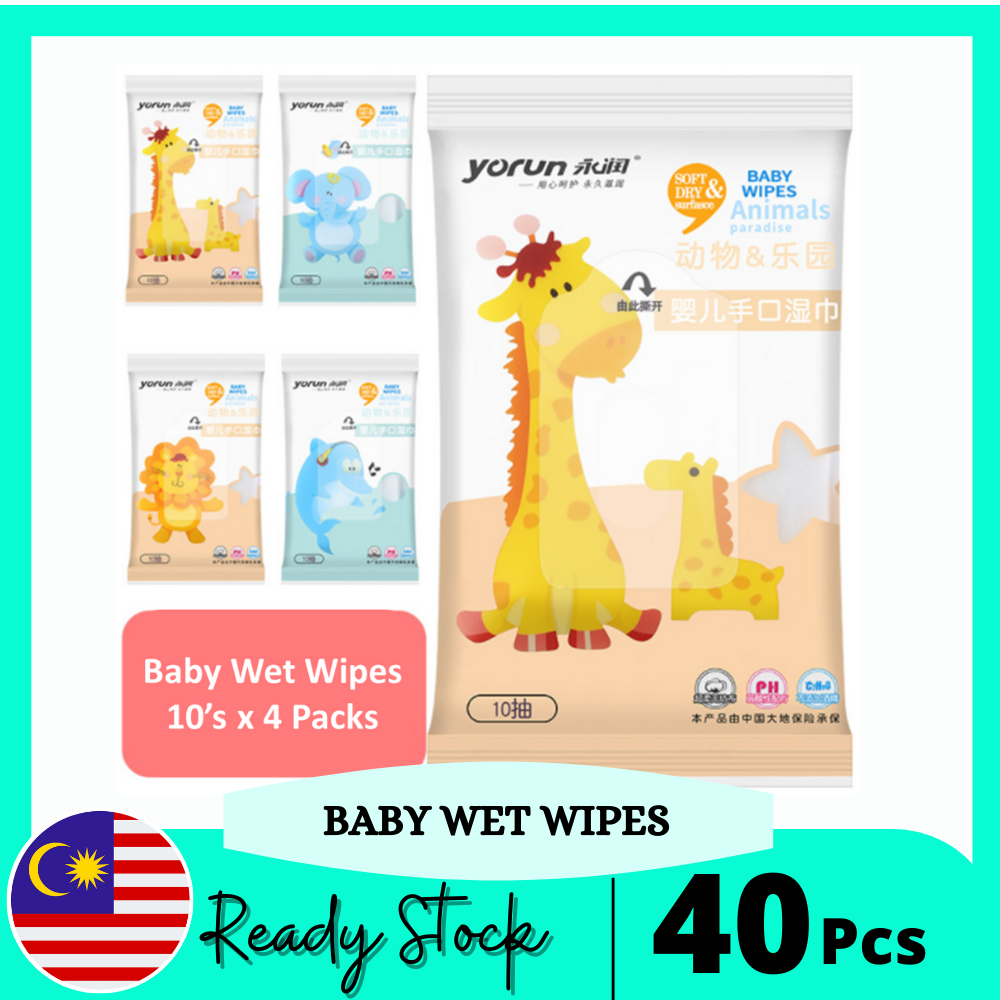 Mini Pack Wet Tissue Baby Wet Wipes Baby Hand and Mouth Portable Mini Moisturizing Baby Wipes (4Packs x 10pcs)