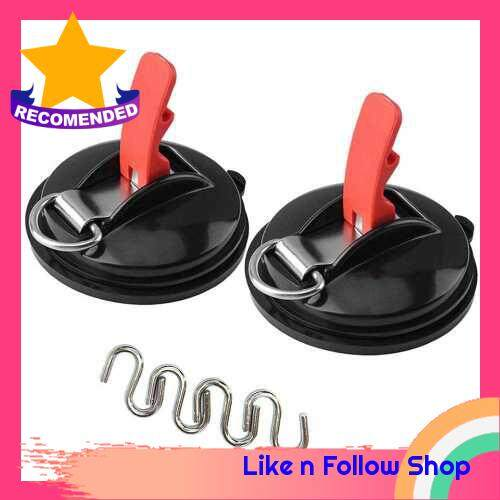 2 Pack Suction Anchor Heavy Duty Suction Cup Mutilfunction Anchor Camping Car Side Awning (Black)