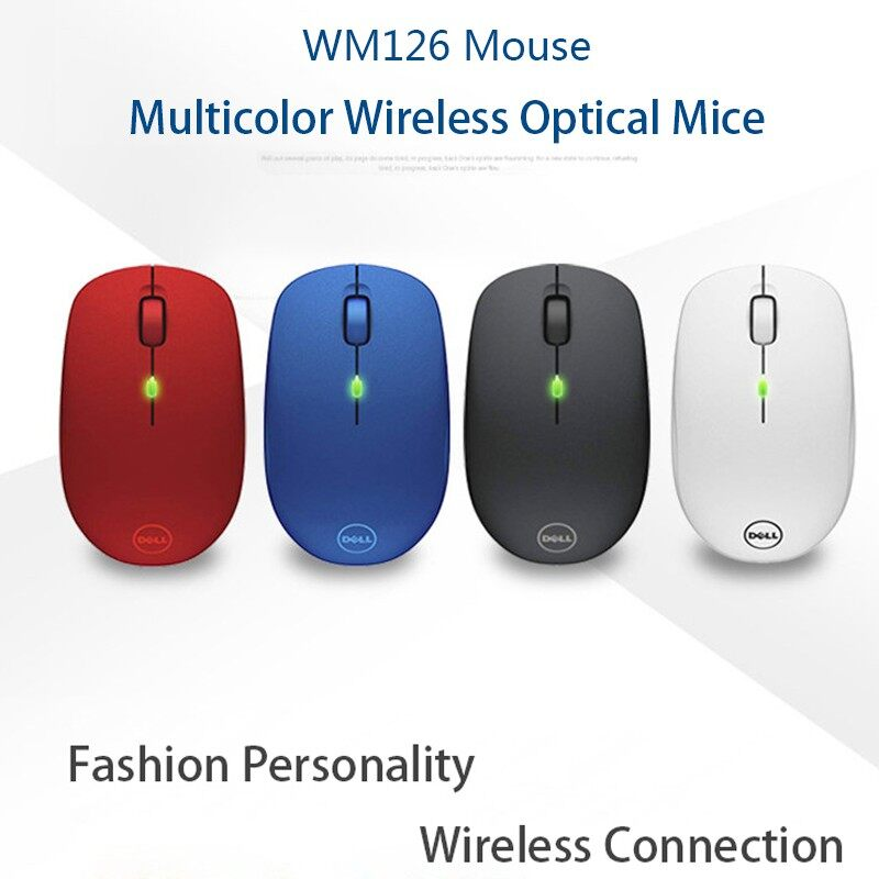 DELL WM126 2.4Ghz WIRELESS Mouse Optical USB Mouse Ergonomic Gaming Laptop PC Computer - BLACK / RED / BLUE / WHITE