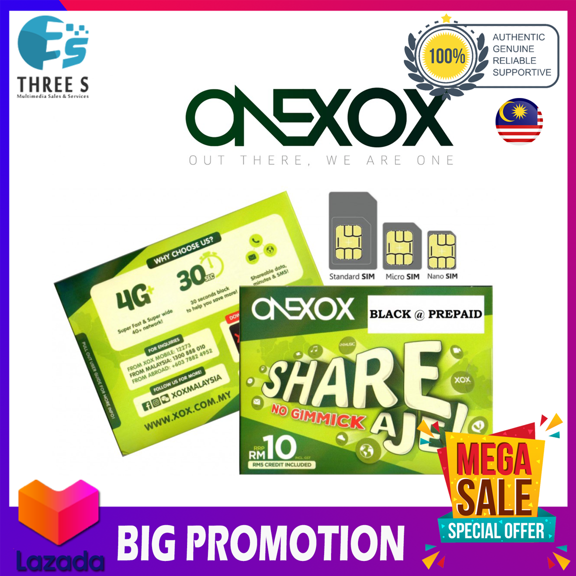 [XOXMOBILE] ONEXOX SimPack NEW Sim Card FREE RM5, 28 Months Validity, 1800 SMS