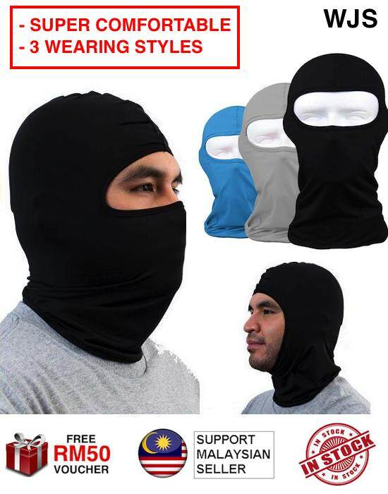 (SUPER COMFORTABLE) WJS Triple Style Motorcycle Full Face Mask Cycling Outdoor Face Mask Ski Mask Bicycle Full Mask Motor Mask Bike Mask Mask Motorsikal Mask Basikal BLACK BLUE RED GREY [FREE RM 50 VOUCHER]