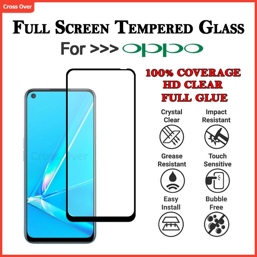 Oppo A12 A12e A3s A5s A5 2020 A53 A9 2020 A31 A73 2020 A91 A92 A93 A7 Full Screen Protector Tempered Glass HD Clear
