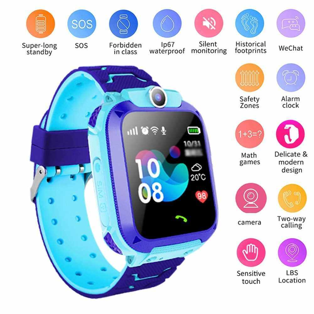 """S15A Multifunctional Kids Children Smart Watch Tracker Intelligent Band Sensitive 1.44"""" Touch Screen Compatible with Android/ IOS Phone System Chat Call Camera Alarm Clock LBS Positioning IP67 Water Resistance for Present Gift (Blue)"""