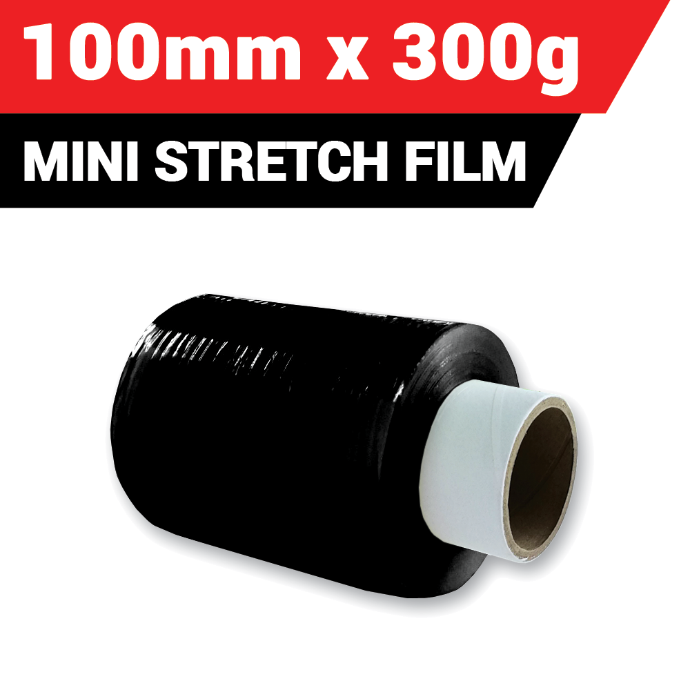 Black Mini Stretch Film/Wrapping Firm - 100mm (300g x 1 Roll)