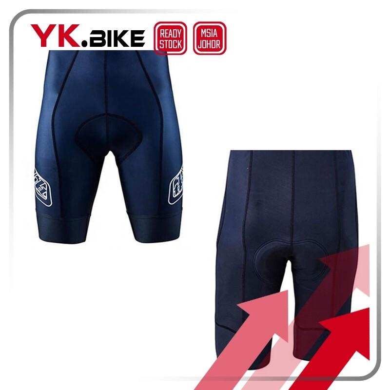 YKBIKE [LOCAL READY STOCK] Navy Cycling Jersey Set Short Sleeve Cycling Jersey And Bib Short Gel Padding Bike Downhill APL123