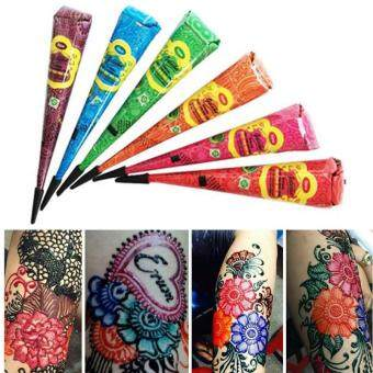 Features 1 Piece Indian Henna Tattoo Paste 6 Colors Women Body Art